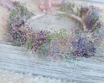 Dried Baby's Breath floral Crown, Flower Girl, Pastel Floral Crown, Dried Flower Wreath, Flower Girl