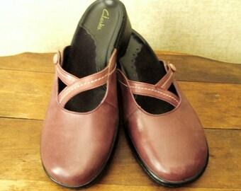Mary Jane Clogs taupe mauve light brown hipster boho shoes slip on mules mori girl vintage 90s women 7 5 half medium width Clarks Brazil