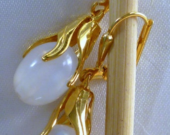 White glass pearl drop earrings with gold plate bezels and latch back clasps, gifts for her
