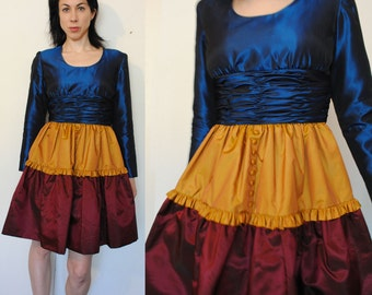 Oscar De La Renta Studio 80s 90s color block crinoline skirt