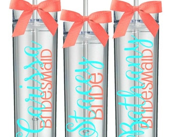 Bridesmaid Skinny Personalized Acrylic Tumbler with Lid and Straw (BPA-free)