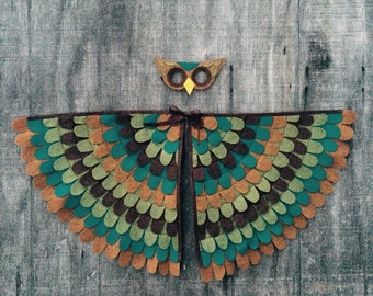 OWL COSTUME // Soft Flappable Wings / Machine wash and dry / baby, toddler and child sizes: Tree +Vine