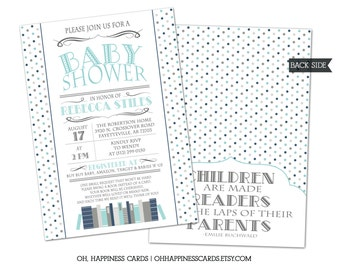 Book or Library Theme Baby Shower Invitation // Digital or Printed (FREE SHIPPING!)