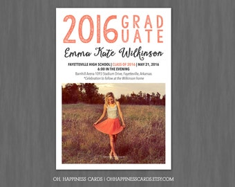 Graduation Announcement or Invitation Photo Card // Digital or Printed (FREE SHIPPING!)