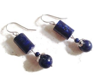 Navy Blue Lapis Earrings - Sterling Silver Jewelry - Gemstone Jewellery - Denim - Dangle - Fashion