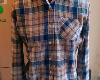 1970s Cotton Pattern Long Sleeve Shirt
