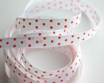 "3/8"" Grosgrain Ribbon Swiss Dots - White with Red Dots #2 - 5 Yards"