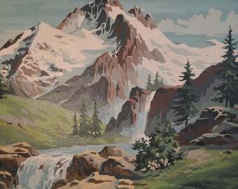 Large Vintage Framed Paint by Number PBN Landscape-Mountains Pine Trees-Forest-River-Nature-Modern Cottage Cabin