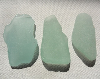 3 pretty seafoam sea glass pendants from Lancashire, England - Lovely English beach finds