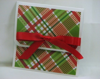 Red and Green Plaid Merry Christmas Gift Card Holder