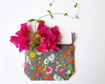Floral Fashion, Clutch, Zipper Pouch, Cosmetics Bag, Bridesmaids Purse, Wallet, Pouch, Pencil Bag, Make Up Bag, Gift for Her Accessories Bag