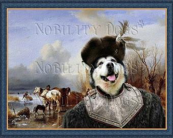 Alaskan Malamute Art CANVAS Print Fine Artwork of Nobility Dogs Dog Portrait Dog Painting Dog Art Dog Print