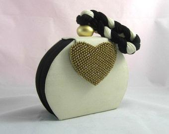 Vintage Contemporary Evening Bag Ivory and Black Shoulder Bag with Beads & Rhinestones , Vintage Mod Bag , Dressy Clutch Bag