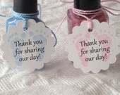 Set of 12 Mini Scallop Blue Or Pink Baby Feet Tags - Thank You For Sharing Our Day- Nail Polish Tags - Baby Shower Favor Tag