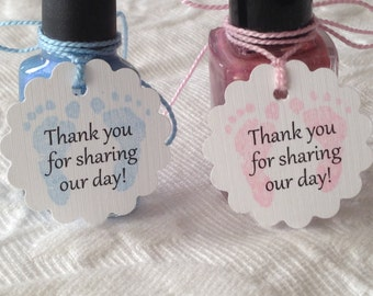 Mini Baby Shower Thank You For Sharing Our Day- Nail Polish Tags - Baby Shower Favor Tag