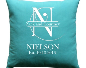Personalized Pillow Cover- Wedding Decor- Engagement Gift Pillow- 16x16 Zippered Cushion Cover- Choose Colors- Anniversary Present