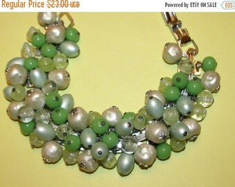 Vintage Green Glass, Seafoam & Baroque Faux Pearl Cha-Cha Bracelet, Signed Japan