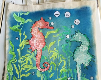 """Canvas Bag with seahorses, """"Seas the Day"""", 15.5 inches square in size, for a knitting or craft bag, use for school, books, reading materials"""