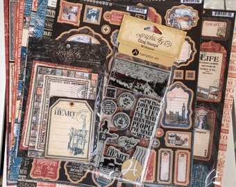 Graphic 45 Cityscapes Collection, 8-12X12 papers, 1-cardstock diecuts, stamp set Cityscapes 1, 2-chipboard stickers, 1 pkg of ephemera cards