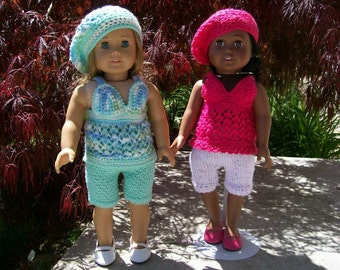 "67) Three Piece Outfit Summer Top, Capris and Beret Any 18"" Dolls Pattern in Top Lace Trim American Girl Cabbage Patch"