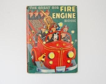 The Great Big Fire Engine Book, Vintage Firefighters Book, A BIG Golden Book, Vintage Kids Books, Tibor Gergely
