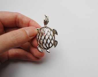 Large Turtle Charm, Sea Turtle Necklace Pendant, Silver Turtle Charm, Jewelry