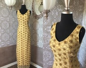 Vintage 1960's Gold Beaded and Sequined Fitted Gown S/M