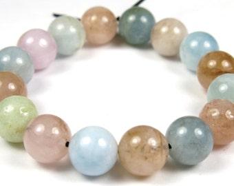 Charming - Mixed Precious Beryl Morganite and Aquamarine Round Bead - 8mm - 16 Beads - B3847