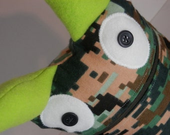 Camouflage digitized 8 bit data architect monster Handmade in Oregon by Sesamecrunch