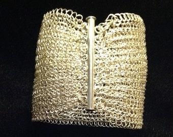 """sterling silver crochet bracelet bar clasp 2 1/4"""" wide"""
