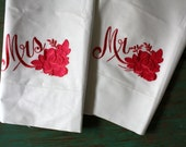 Hot Pink Mr. and Mrs. Embroidered Pastel Pillow Cases, Vintage Pillow Cases, Pair, Vintage Bedding, His and Hers