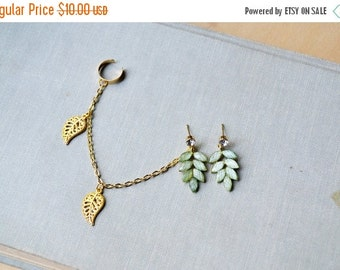 VALENTINES DAY SALE Green Leaf Gold Ear Cuff Earrings (Pair)