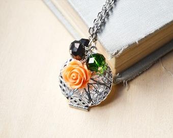 Apricot Rose Silver Filigree Custom Photo Diffuser Locket Necklace