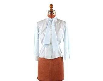 ON SALE Vintage 1950's Pale Blue Preppy Ascot Tie Secretary Button Up Pin Up Blouse Shirt Top M