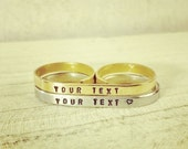 ON SALE Two Finger Ring - Engraved Double Ring - Custom Personalized Two Finger Gold or Two Finger Silver Ring