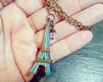 Eiffel Tower Necklace - Solid Brass with Turquoise Patina and Clear Crystal Charm - Antiqued Brass Chain
