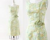 1950s 3D Rose Dress / Green Floral Brocade Dress / 1950s Dress / 1950s Cocktail Dress / Medium