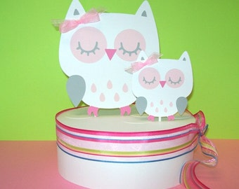 Owl Cake Topper/ Momma & Baby/ Baby Shower/ Happy Birthday/White with Pink