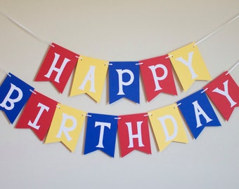 Happy Birthday Banner in red, yellow and blue, Birthday Party Decorations, super hero, Photo Prop, baby shower, bridal shower