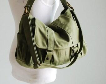 Back To School SALE - 30% Pico2 in Army Green (Water Resistant) School / Shoulder Bag / Messenger Bag/ tote / Diaper Bag/Diaper Bag/ School