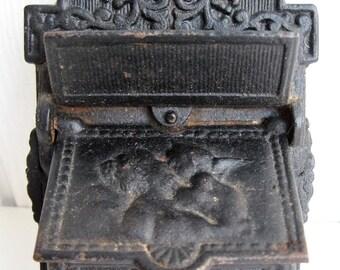 Vintage Venus Cupid Match Holder Safe Black Cast Iron Wall Mount