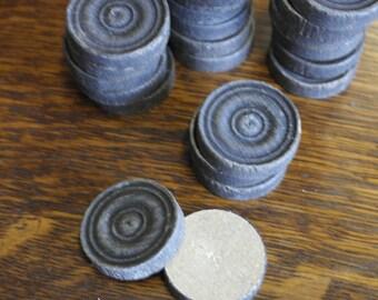 vintage half made black drafts checkers pieces x 22