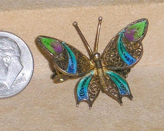 Vintage Signed 800 Silver Filigree Guilloche Butterfly Pin Brooch 1950's Jewelry 2279
