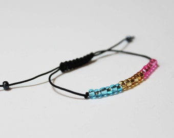 Pansexual Beaded Simple Minimalist  Pan Pride Bracelet