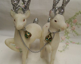 Vintage Flocked White Deer Glitter Antlers Fancy Collar Set of 2