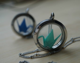 Origami Crane necklace-glass locket necklace-stocking fillers-magnetic glass charm locket-gift for her-lucky crane pendant