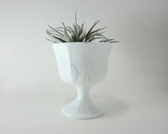 White Milk Glass Pedestal Compote Vase Grape Vine Design Candy Bowl