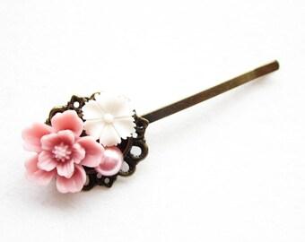 Haarklammer,haarspange,hair pin,hair clip, hochzeit,wedding,Blumen,Vintage-Stil,rosa