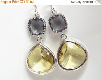 SALE Yellow Earrings, Gray Earrings, Grey Earrings, Silver Earrings, Drop, Dangle, Citrine, Bridesmaid Earrings, Bridal Jewelry, Bridesmaid
