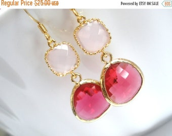 SALE Glass Earrings, Pink Earrings, Gold Fuschia Earrings, Soft Pink, Fuchsia, Bridesmaid Earrings, Bridal Earrings Jewelry, Bridesmaid Gift